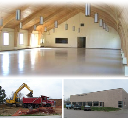 Photograph of building site preparation, Blackhawk Community Center in Winnebago, NE, and also an inside photograph of a building.